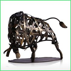 Metal Sculpture Iron Braided Cattle Home Furnishing Articles Handmade Crafts escultura Home Art Decoration