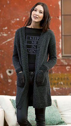 Manteau en anthracite avec la laine Lang Yarns Novena