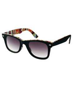 74fee7cc7b9ad ASOS Wayfarer Sunglasses with Internal Aztec Print Comprar Óculos De Sol  On-line, Saída