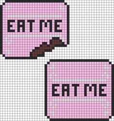 Alice In Wonderland Eat Me Cakes Perler Bead Pattern / Bead Sprite