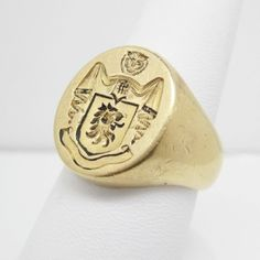 CARTIER VINTAGE 18K GOLD FAMILY CREST WAX SEAL SIGNET RING