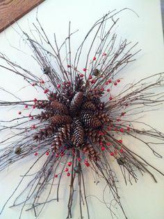 Pine cones berries jingle bells #christmaswreath