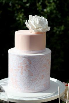 Peach and White, Intricate Design Contrasted w/Simplicity, Flower--Beautiful.