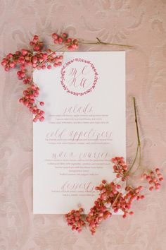 Peach and coral wedding menu: http://www.stylemepretty.com/2016/08/10/best-fall-wedding-color-palette/ Photography: Anna Roussos - http://www.annaroussos.com/
