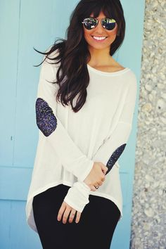 Hide And Seek Sweater: White | Hope's  Glittered elbow patch high low shirt