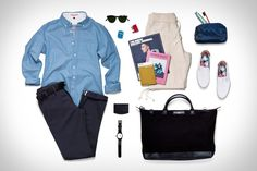 Apolis Washed Classic Chambray Shirt ($168) Rogue Territory AR-G Trouser ($165) Wings + Horns Pique Terry Short ($138) Cause and Effect Leather Belt ($150) Want Les Essentiels de la Vie Weekender Tote Bag ($395). Vans Slip-On 59 Shoes ($55) Garrett Leight Milwood 46 Sunglasses ($315) Haerfest F19 Wallet ($65). Flight 001 F1 4-in-1 Adapter ($25) The Green Soccer Journal ($17) The Travel Almanac ($18) Wallpaper City Guide ($12) TID No. 1 Watch ($295) Baxter of California Travel Essentials…