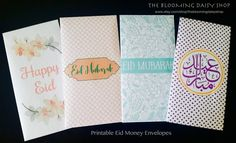 Eid Money Envelope-Eidi Envelopes-Eid PRINTABLE DIY Envelopes-Eid Mubarak Money Packets-Set of 4 Eid Mubarak Envelope-Download-Printable by TheBloomingDaisyShop on Etsy