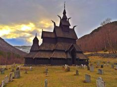 the borgund stave church in west norway was built by the vikings around the year 1181. it's completely made of wood