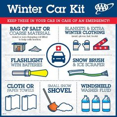 Car Kit from AAA - Keep these items in your car in case of an emergency.Winter Car Kit from AAA - Keep these items in your car in case of an emergency. Bug Out Vehicle, Emergency Preparedness Kit, Survival Prepping, Survival Skills, Car Survival Kits, Survival Books, Doomsday Prepping, Winter Car Kit, Winter Tips
