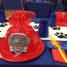 Paw Patrol birthday party table! See more party planning ideas at CatchMyParty.com!