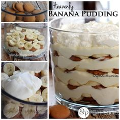 Heavenly Banana Pudding is the same as Banana Pudding Supreme! This luscious no bake dessert is not only easy, it's a definite crowd pleaser! Trifle Bowl Recipes, Trifle Desserts, Trifle Recipe, Easy Desserts, Delicious Desserts, Dessert Recipes, Yummy Food, Homemade Banana Pudding, Banana Pudding Recipes