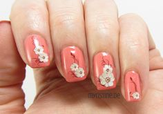 Floral Coral Nails mit Stones N' Roses (ESSIE, Resort Collection 2015)