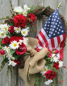 Patriotic Wreath, Americana Wreath, American Flag, 4th of July Wreath, Memorial Day, Veterans Day, Military, Flag Wreath, Floral Wreath  Summer