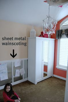 sheet metal wainscotting - I told a parent of one of my student's to do this as her son has been destroying her walls during his temper tantrums, lol!
