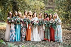 mismatched bridesmaid dresses - photo by Cara Robbins Photography http://ruffledblog.com/floral-inspired-treehouse-wedding