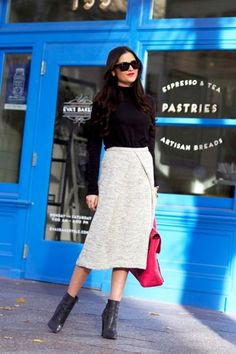 Tuck a slim sweater into a skirt (length of your choosing!) and finish it off with heeled ankle booties for a youthful yet sophisticated winter work look.