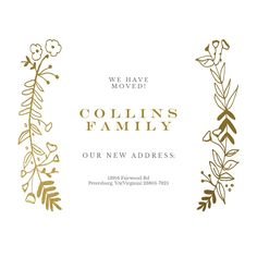 Side by Side Gold - Moving Announcement #announcements #printable #diy #template #Moving #newaddress #newhome Moving Announcements, Text Messages, Create Yourself, Printables, Invitations, Templates, Gold, Diy, Free