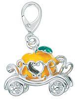 Zable 925 Sterling Silver Enamel Pumpkin Carriage Clip on Charm