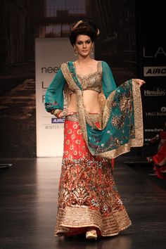 9ecde304cb9c neeta lulla. See more. Blue & Gold Top With Red Floral &  Embroidered Bottom. Cute sleeves.