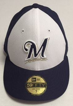 5ce40657f5a Milwaukee Brewers Fitted Hat Size 7 New Era Baseball Cap MLB Low Crown  59Fifty Fitted Baseball