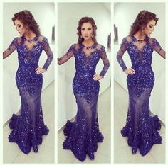 Purple Long Sleeve Pageant Prom Applique Formal Party Evening Mermaid Dresses