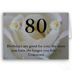 White Rose 80th Birthday Cards 445 Greetingcards