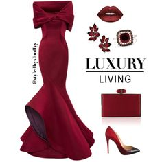A fashion look from February 2017 featuring Caroline Hayden gowns, Christian Louboutin shoes and Judith Leiber clutches. Browse and shop related looks.