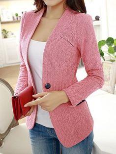 Ericdress Elegante One Button Blazer Blazer – Mode Blazer Outfits, Blazer Fashion, Suit Fashion, Fashion Outfits, 90s Fashion, Fashion Clothes, Boho Fashion, Womens Fashion, Fashion Trends