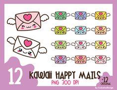 50% OFF, Kawaii clip art, love letter clipart, Valentines Day clipart, envelope clipart, mail clipart, happy mail clipart, envelope clip art