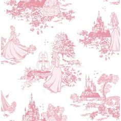 Disney Princess toile wallpaper. For feature wall or to create some artwork.