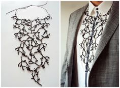 Statement Twig Necklace Branch Necklace Unisex Necklace Funky Jewelry, Etsy Jewelry, Branch Necklace, Black Acrylic Paint, Statements, Leather Cord, Metal Working, Jewelry Making, Woodland Forest