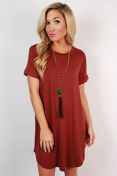 Take a chance on this cabernet t-shirt dress and you won't be disappointed! Dress it up with a glam necklace and wedges, or dress it down with sneakers and a cross body bag! However you wear it, you'll be cute and comfortable all day long!