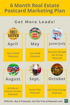 6 Month Real Estate Post card Marketing