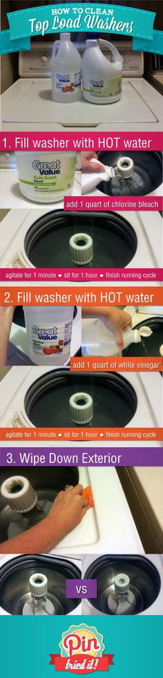 HOT water/Bleach (1 quart= 4 cups), agitate 1 minute, sit 1 hour, then finish cycle. REPEAT with HOT water/ Vinegar. Wipe down outside. AMAZING!!