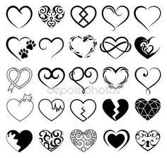 Uppsättning av 25 tatuering hjärtan bild. Vektor symbol — Stockillustration #125191152
