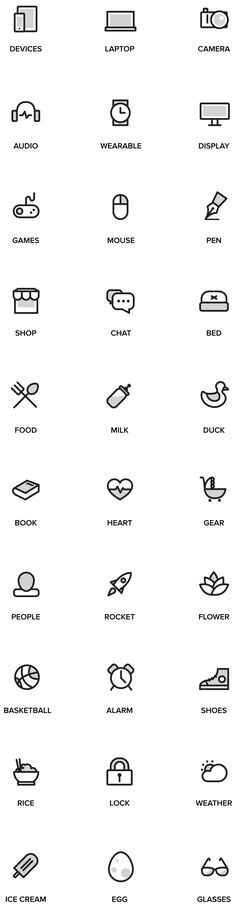 Simplified icons with grey background.
