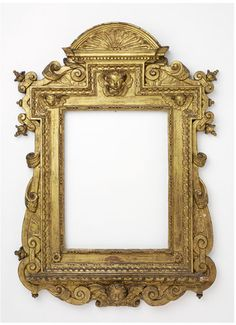 Carved and gilt cassetta inner frame with bead and reel sight edge and extended upper central block and corners containing putti heads, and paterae at the lower corners; a Sansovino-style outer frame of interlaced scrolls and volutes, with paired, angled finials at the upper corners, and with an antependium containing a putto head, and above a semicircular pediment containing fluting. Place of Origin Italy Date 1600-1650 | Victoria and Albert Museum