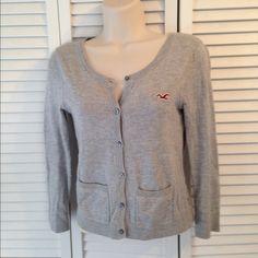 Hollister Grey Cardigan Hollister Grey Lace Back Cardigan 60%  cotton 20 nylon 20 rayon Hollister Sweaters Cardigans