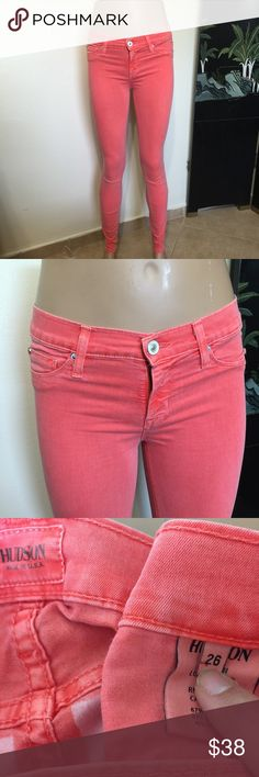 HUDSON Coral Pink orange Skinny Jeans W 26X L30 Label-Hudson Jeans  Style- Super stretch Skinnies, Thin Fabric so not too hot. Low rise.  Size- 26 Shown on a size 4 mannequin, tight but Fits.  Will fit a 2, 4  Measurements-W- 29 Hip- 37 Rise- 8 Inseam- 30 Color-Coral Pink Orange. Color is accurate in pics. Shade on Label is Tangerine Fabric-67% Cotton,29% Pes 4% Lycra Condition-Very lightly worn, no issues Origin-USA Hudson Jeans Jeans Skinny
