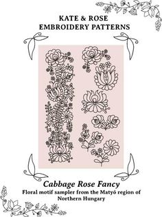 Cabbage Rose Fancy Hungarian embroidery pattern (PDF) by Kate & Rose Hungarian Embroidery, Folk Embroidery, Shirt Embroidery, Learn Embroidery, Modern Embroidery, Floral Embroidery, Chain Stitch Embroidery, Embroidery Stitches, Embroidery Patterns