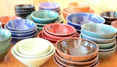 Handmade Ceramic Porcelain Bowls in red, brown, black, green, blue, orange, white...every color imaginable! | Caldwell Pottery