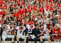 Georgia players Merritt Hall (43), Blake Sailors (7), Chase Vasser (33), and Lucas Redd (24) celebrate with fans after their 23-20 win over Florida. (John Raoux/AP)