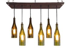 Recycled Wine Bottle Chandelier: por IndustrialLightworks en Etsy