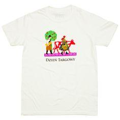 Koszulka folk unisex - dzień targowy po łowicku - biała