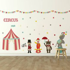 Transform your child's bedroom or playroom into a magical carnival wonderland with this fantastic circus wall sticker set! Circus Nursery, Circus Room, Circus Theme, Nursery Themes, Contemporary Wall Stickers, Room Accessories, Decorative Accessories, Room Wall Decor, Nursery Inspiration