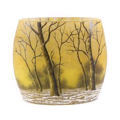 Daum Nancy France Etched & Enamel Cameo Glass Vase in Ovoid Form. Winter Forest | eBay