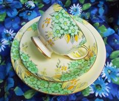 Lovely Bone china Trio by Samuel Radford Ltd Made in Fenton, England late 1920s/1930s Pattern number 7657 Trio consists of teacup, saucer and tea plate Soft cream background with a very pretty design of flowers and leaves in yellow, soft green, lemon, green and grey. There
