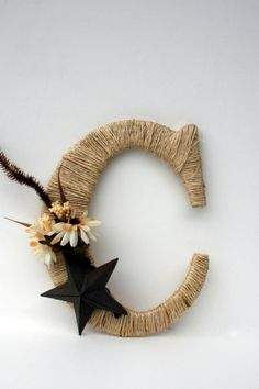 Wrapped Letter C Rustic Decor Cowboy Decor by DreamersGifts, $30.00.... would be super easy to make