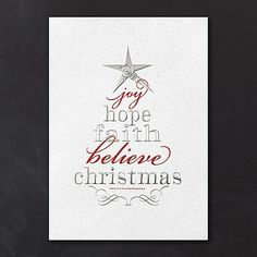 Tree of Words Holiday Card Celebrate Christmas by expressing the meaningful side of the holiday season. A shimmering cream background is embossed with red and silver foil, creating a memorable Christmas tree design.