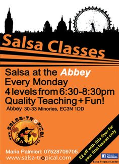 Salsa-Tropical at Abbey bar on Monday August 12, 2013 at 6:30 pm - 8:30 pm. GET into gear and DO what you have always been MEANING TO DO. Quality Teaching and FUN and Great atmosphere! Category: Classes / Courses, Price: With Loyalty Card: £8, Class andClub: £10, Twitter: http://atnd.it/12uhYdx, Facebook: http://atnd.it/15FIeH, Artists / Speakers: Maria Palmieri, Keywords: salsa school, monday salsa, salsa shows, salsa-tropical, Venue: Abbey bar, 30-33 Minories, London, EC3N 1DD, United…